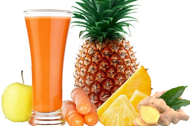 Suco de Laranja com cenoura, abacaxi e gengibre